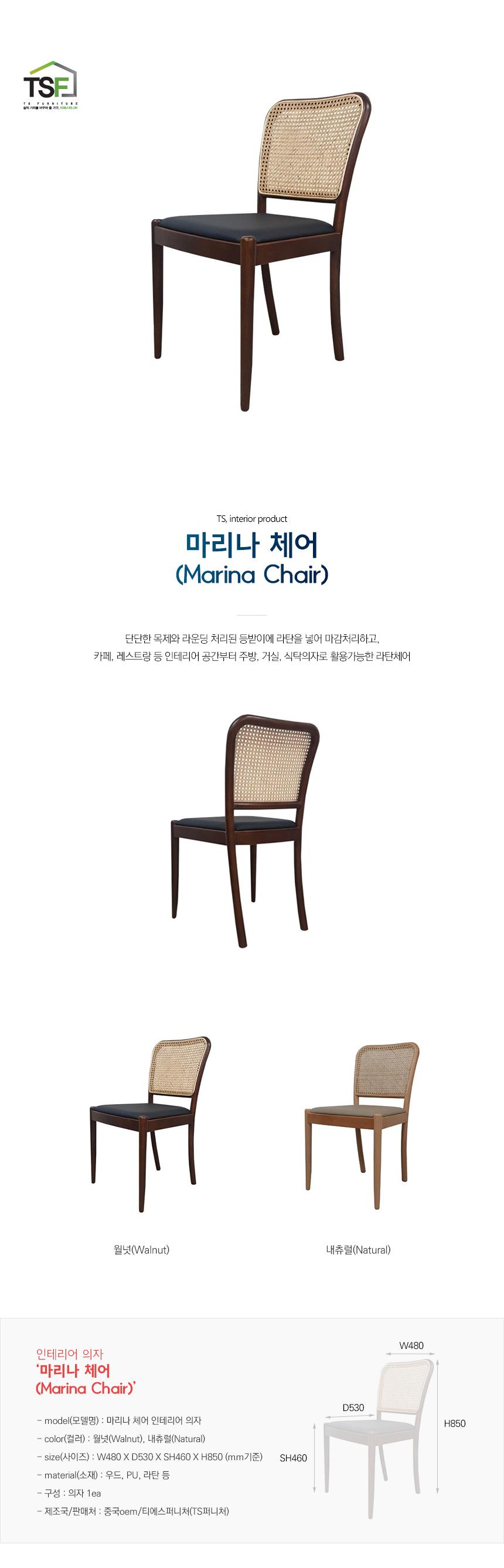 I 마리나 체어 인테리어 의자 - 주식회사 티에스퍼니처, 155,500원, 디자인 의자, 스틸의자